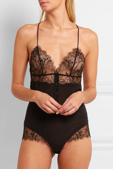 Black Chantilly lace, silk-blend georgette Hook fastenings at base  55% silk, 25% polyamide, 15% viscose, 5% elastane; base lining: 100% cotton Hand wash  Made in Italy