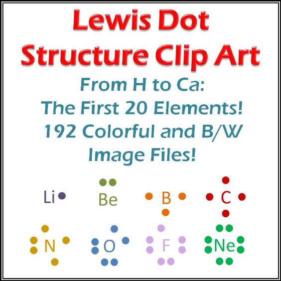 Lewis Structure Clip Art 20 Elements Dots and Atoms – Lewis Dot Structures Worksheet