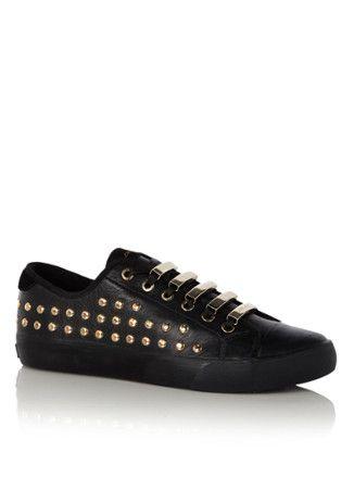 DKNY Sneaker Barbara van leer met goudkleurige details • de Bijenkorf