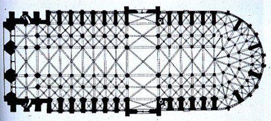 Gótico Clásico. Planta de Notre Dame de Paris. Planta de salón, 1163.