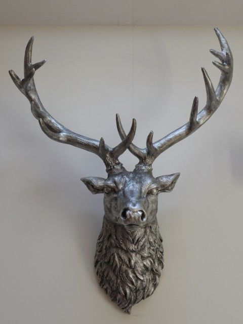 Silver Stag Head Wall Mounted Deer Stag Head Stylish