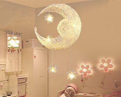 LONFENNER Creative Moon And Stars Pendelleuchte Deckenleuchte Mond Und Sterne Fr Kinderzimmer Wohnzimmer