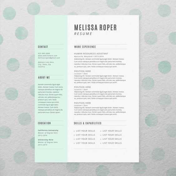 cv design   cover letter  instant download  printable resume template  microsoft word