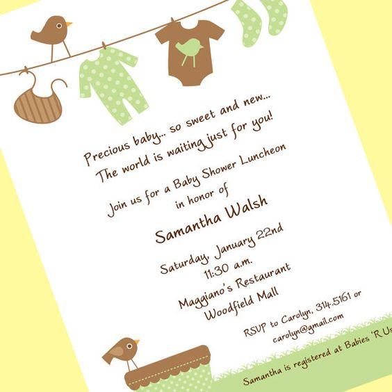 Gender Neutral Baby Clothesline Invitation, Printable Invitation Design, Custom Wording, JPEG File
