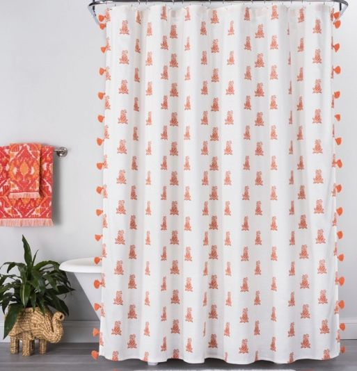 Target Opal House Pineapple Tassel Shower Curtain Fabric Shower