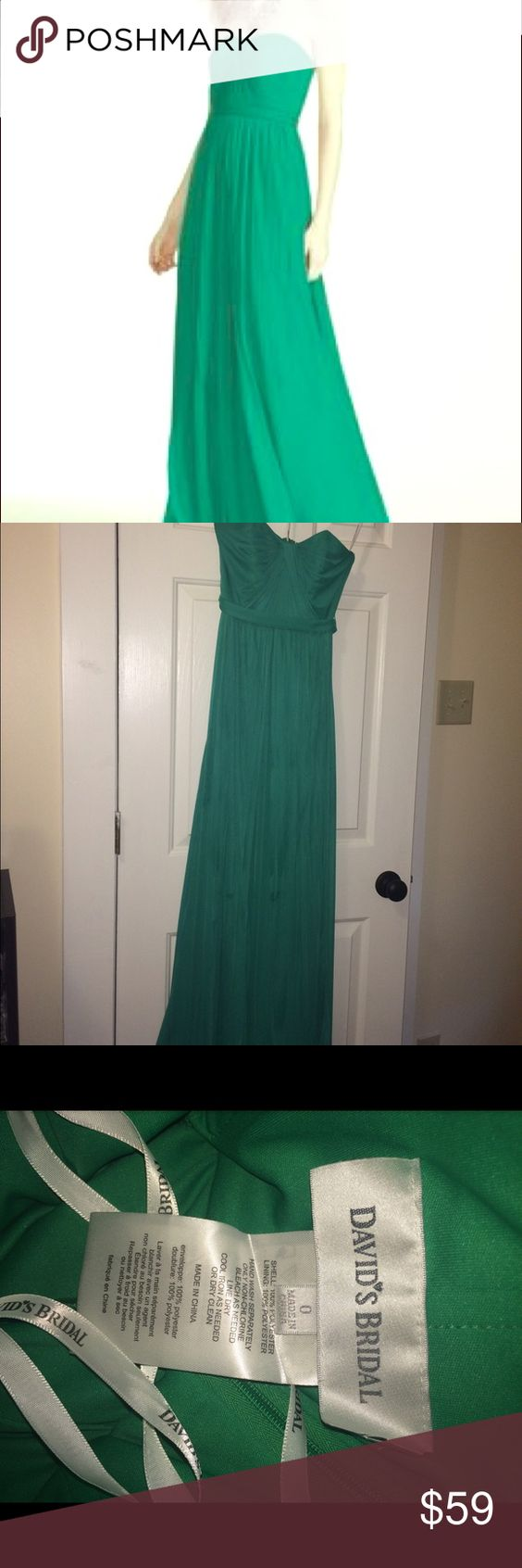 Emerald Versa David's Bridal dress Green floor length dress, hangs beautifully and doesn't cling to curves. Size 0. The top can be worn dozens of ways - strapless, halter, one shoulder, etc. David's Bridal Dresses Wedding