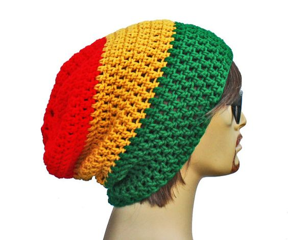 Rasta Beanie  Slouch  Mens or Unisex  Ultimate by GlamourDamaged