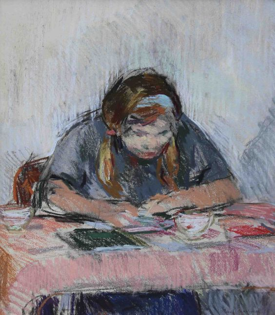 "Paul Overhaus (Dutch, b. 1935) - ""Huiswerk"" (Homework), 1967 - Pastel"