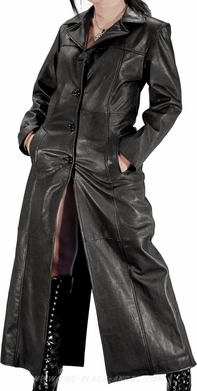 Fashion Black Leather Womens Long Trench Coat | Fashion Dresses