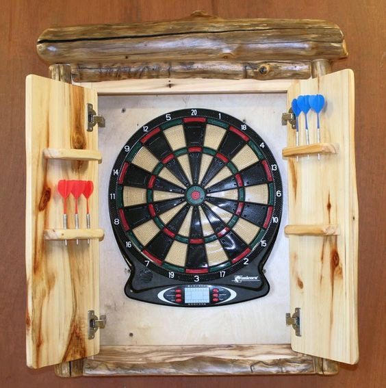 Down stairs adult room aspen log dartboard cabinet for Aspen logs for decoration