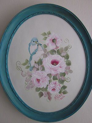 Bluebirds and pink roses in a blue frame. Now on Ebay.