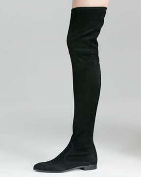 Prada Suede Flat Thigh-High Boot, Black on shopstyle.com | shoes ...