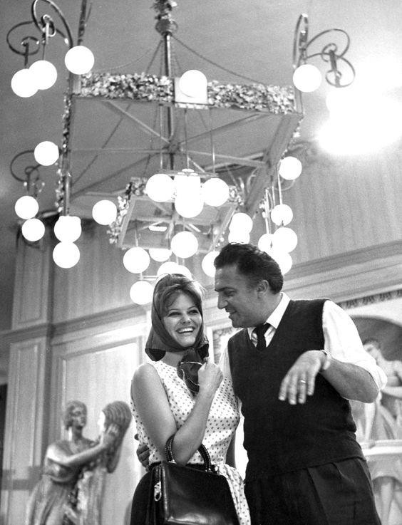 Claudia Cardinale and Federico Fellini