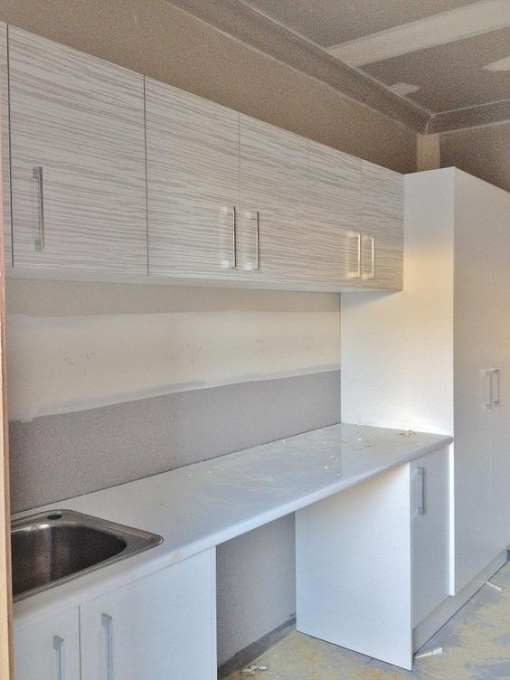 Laminex 'Ice Veil' overhead cupboards | Laminex ...