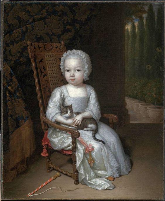 Constantijn Netscher (Dutch, 1668–1723) - Portrait of a Young Girl Holding a Cat, 1711: