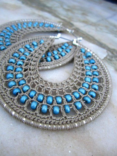 Crocheted Hoops with beads Awesome, Crochet and Change 3