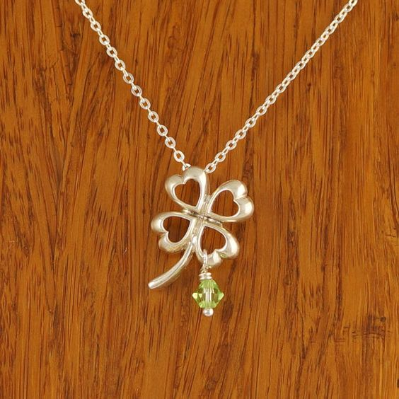 UNQ101 Four Leaf Clover Good Luck Necklace w by CustomBrites, $32.00 https://www.etsy.com/ca/listing/181009062/unq101-four-leaf-clover-good-luck?ref=related-2