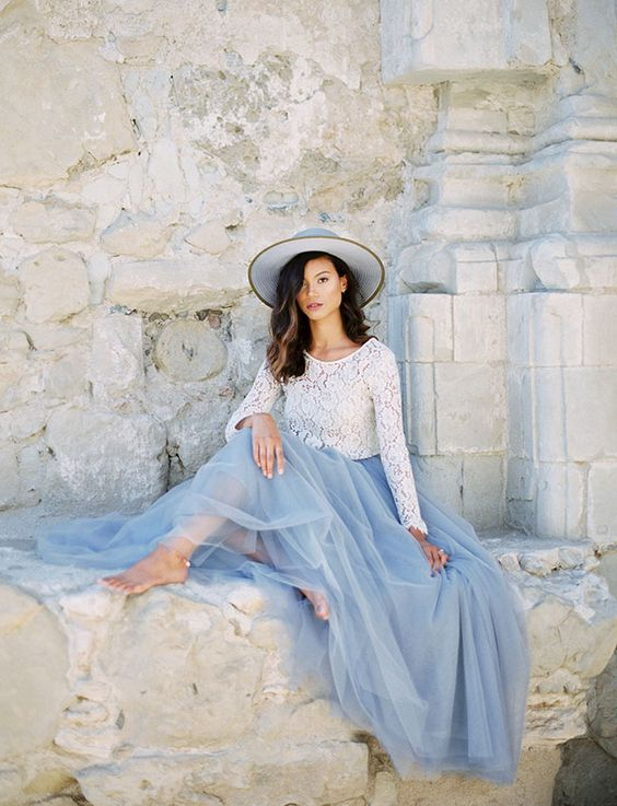 Pantone Serenity inspiration, bridal lookbook, bridesmaid outfit inspiration, tulle skirt, maxi skirt, lace top, Space 46 tulle, Green Wedding Shoes feature:
