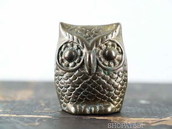 Vintage 1970s Brass Owl Paperweight Figurine by SHOPAT851 on Etsy, $16.00