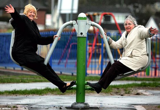 Playtime for Grandma: Council opens new playground for the over-60s.  Like most playgrounds, it is filled with smiling faces and laughter.  But these faces have seen more of life than you might expect, and the laughter is a little more mature in tone.  Britain's first playground for the over-60s open in Manchester.