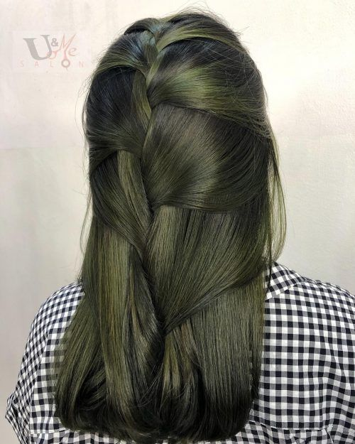 17 Amazing Examples Of Green Hair Colors Olive Hair Ash Green Hair Color Olive Hair Colour