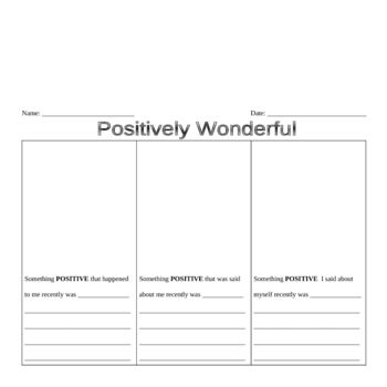 Printables Positive Thinking Worksheets french christmas worksheets and activities positive things self esteem worksheets