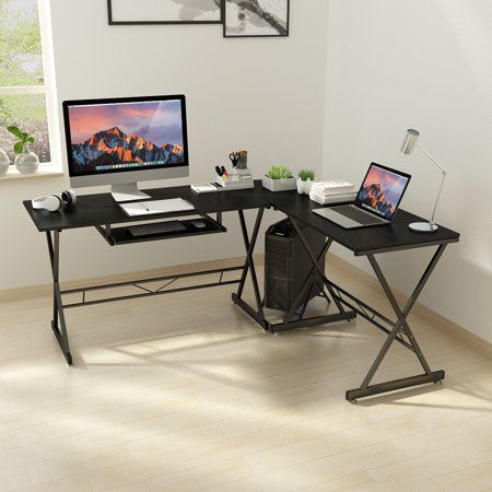 L-shaped Corner Desk Computer Workstation w// Keyboard Tray