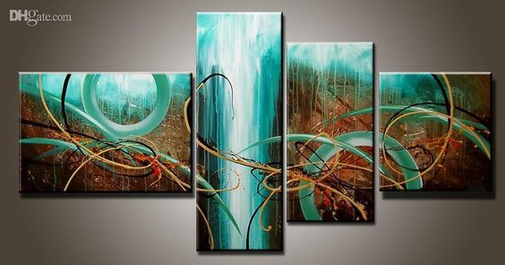 Art Modern Abstract Oil Painting Multiple Piece Canvas Art Sets Green Passion New Arrivals From Topchinasupplier, $44.75 | Dhgate.Com