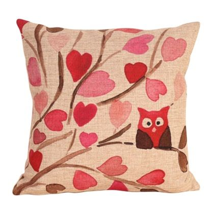 Branch Owl Love Heart Leaf Cotton Linen Square Shaped Decorative Pillow Cover Pillowcase Pillowslip 43*43cm