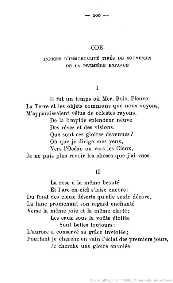 Ode: Intimations of Immortality from Recollections of Early Childhood by William Wordsworth - 1806 - Traduit de l'anglais par Émile Legouis - version originale  : https://www.poetryfoundation.org/poems-and-poets/poems/detail/45536
