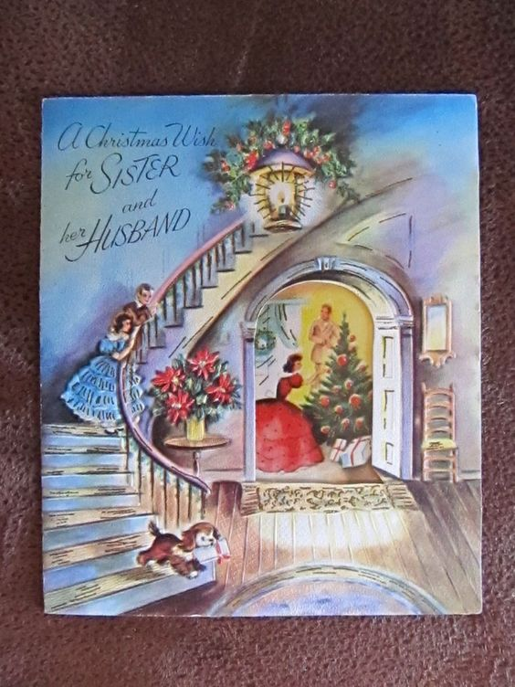 Vintage Christmas Card Old Fashioned Couple Decorating Tree Children on Stairway