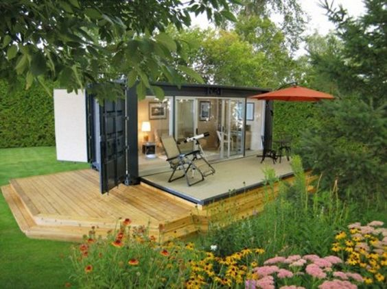 outdoor studio made from a shipping container