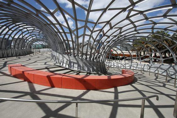 Very funky looking Webb Bridge in Melbourne, Australia.