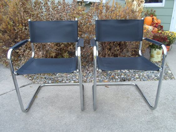 Vintage Mid Century Modern Set of Two Chrome and Black Leather ...