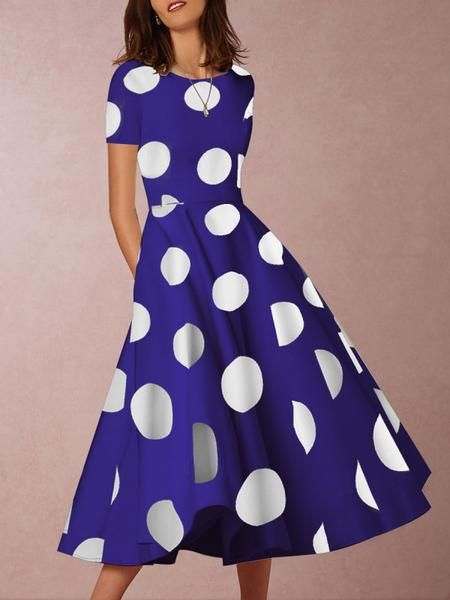 Sexy round neck short sleeve color polka dot print dress