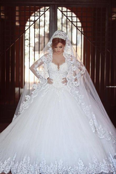White Princess Ball Gown Long Sleeves Lace Diamond Wedding Dress ...
