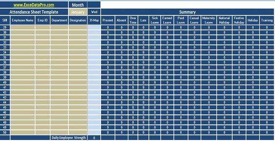 Download Employee Attendance Sheet Excel Template - ExcelDataPro - daily attendance template