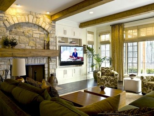 built in for TV - pull out bracket to swivel and doors to close it off.