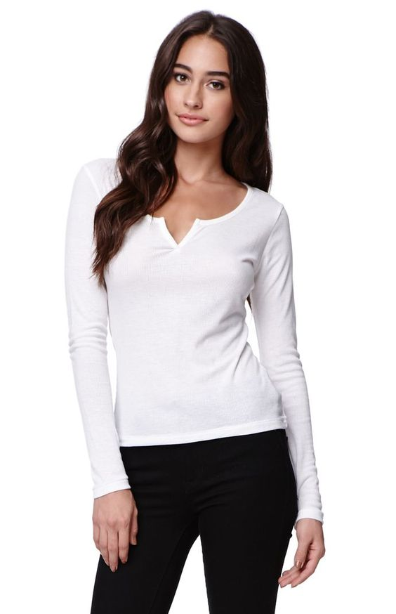 "The women's Notch Neck Ribbed T-Shirt by Nollie for PacSun and PacSun.com offer a slight v-neckline with soft ribbed fabric throughout. This essential long sleeve t-shirt is perfect with our denim or layering with cardigans this season!	22"" length	25"" sleeve length	Measured from a size small	Model is wearing a small	Her Measurements: Height: 5'9"" Bust: 34"" Waist: 24"" Hips: 34""	65% polyester, 35% rayon	Machine washable	Imported"