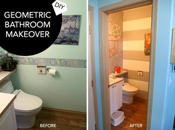 DIY Geometric Modern Bathroom Makeover