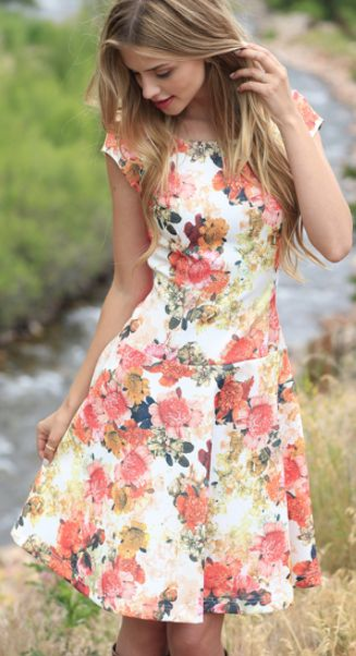 darling floral fit and flare dress