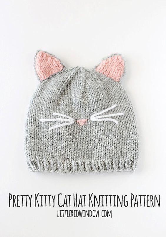 f333d04d65d Chapeau de bébé chat Kitty tricot