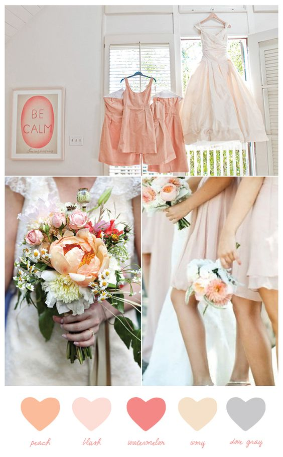 Today's color palette was inspired by one of my fabulous event design clients (hi, Lauren!) and her love for this gorgeous real wedding on Snippet & Ink. We've been talking about shades of peach and blush for a while now, and I love how those colors look paired with ivory, gray and a punchy shade of watermelon. This color combination just sings summer wedding to me.