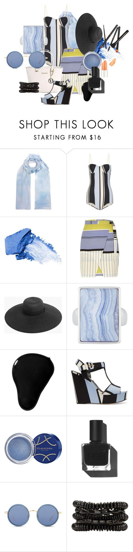 """geometric blues"" by a-kathryn-ethx ❤ liked on Polyvore featuring MaxMara, Dolce&Gabbana, NARS Cosmetics, River Island, Boohoo, Henri Bendel, RGB Cosmetics, Trussardi, Elizabeth Arden and Linda Farrow"
