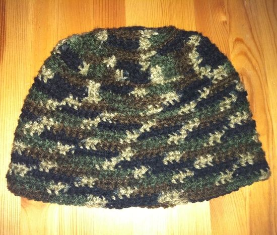 Mens Crochet Camo Hat