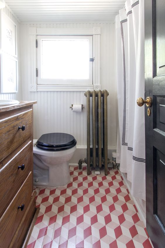 Hand-Painted Tumbling Blocks Bathroom Floor   Making it Lovely