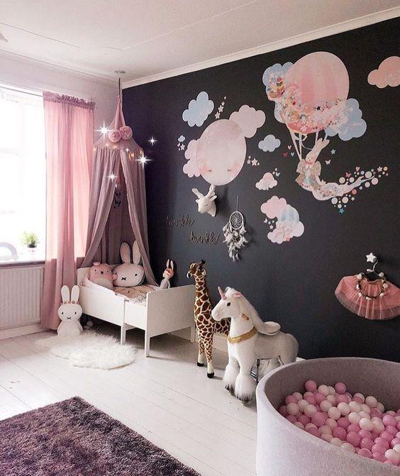 Decoración para cuarto de niña con tema de globos y ...
