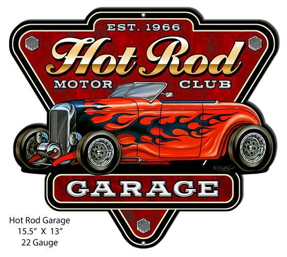 Hotrod Metal Sign Cutout