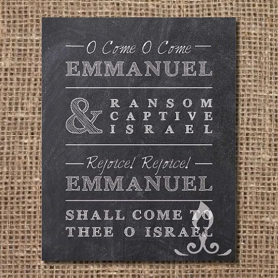 Hymn Print O Come O Come Emmanuel by LamplightsPrints on Etsy, $14.00