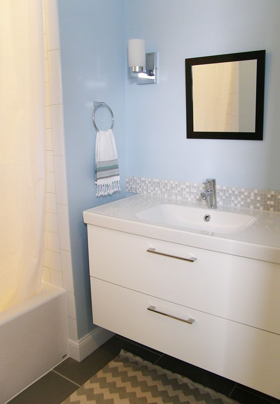 Ikea Godmorgon Vanity With Added Pulls And Mosaic Tile Backsplash Vanity Backsplash Bathroom Vanity Decor Ikea Vanity